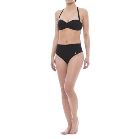 Sunseeker Twist Bandeau Bikini Set - Push-Up Top, High-Waist Briefs (For Women)