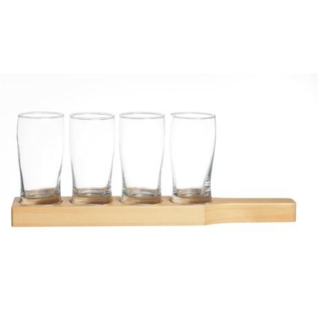 Home Essentials & Beyond Home Essentials Beer Den Beer Flight Glasses - 8.8 fl.oz., Wood Tray, Set of 4