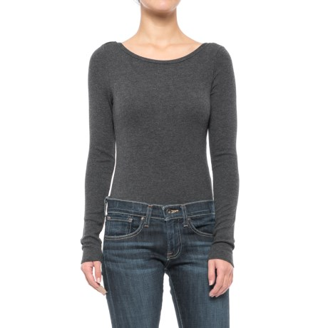 Specially made Ribbed Scoop Neck Bodysuit - Long Sleeve (For Women)
