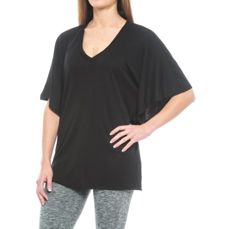 Natori Speckled Interlock V-Neck Poncho Sleep Shirt - Short Sleeve (For Women)