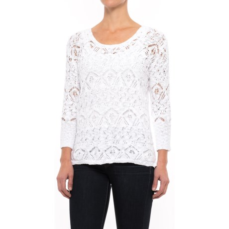 Nomadic Traders High-Low Lacy Knit Sweater - 3/4 Sleeve (For Women)
