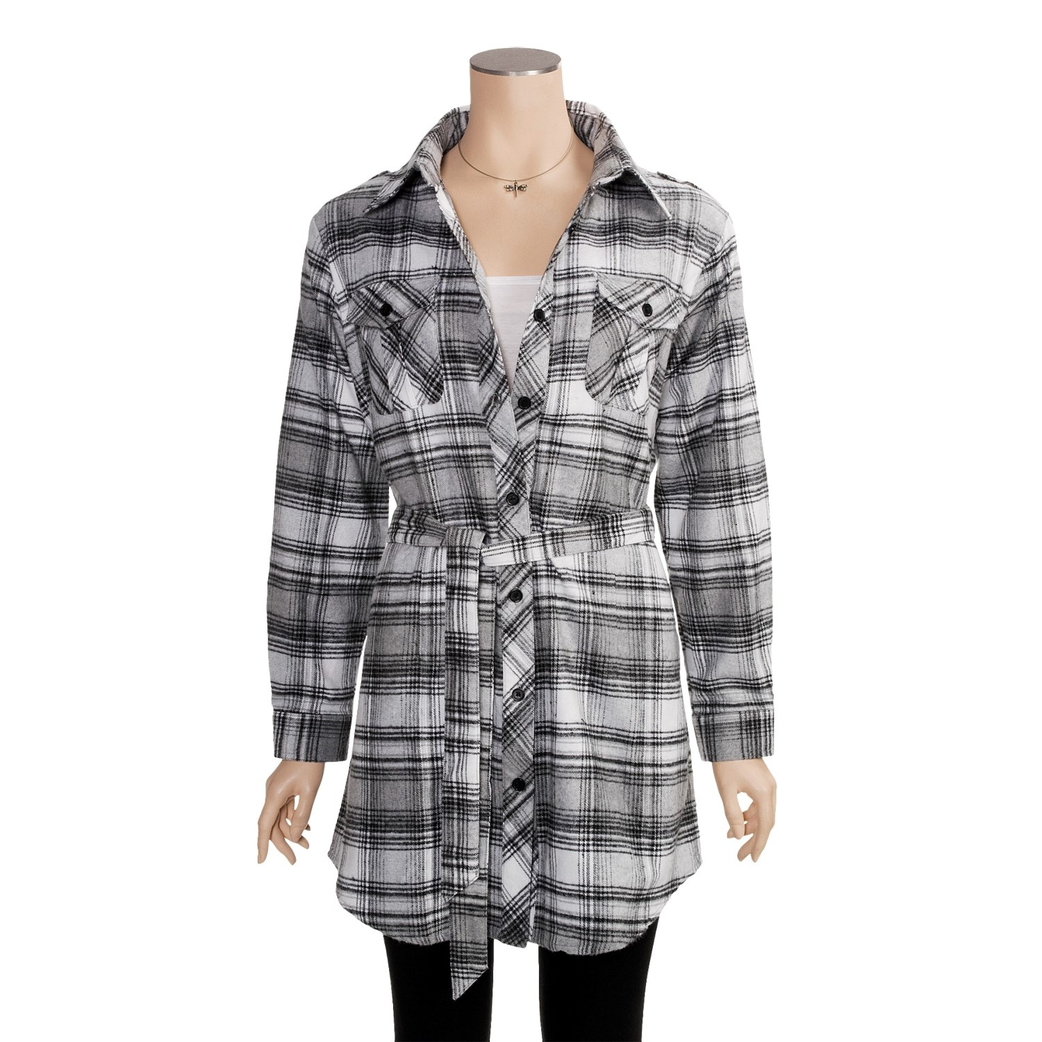Plaid flannel button down tunic with long button tab sleeves and a ruffled hem. XS Sizes S/M Sizes L/XL Sizes XXL Sizes Plaid flannel button down tunic with long button tab .