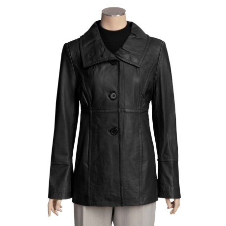 Excelled Funnel Neck Lambskin Jacket - Button Front (For Women)