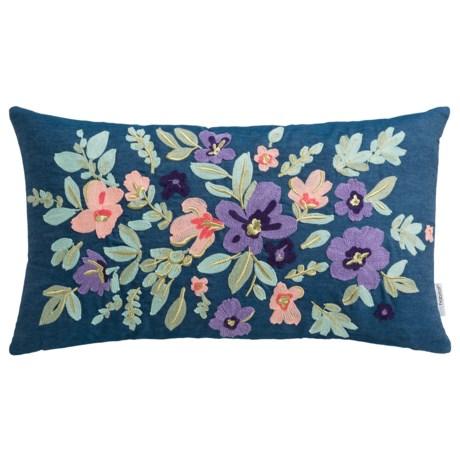 "Luxe Habitat Crewel Flower Decor Pillow - 14x24"", Feathers"