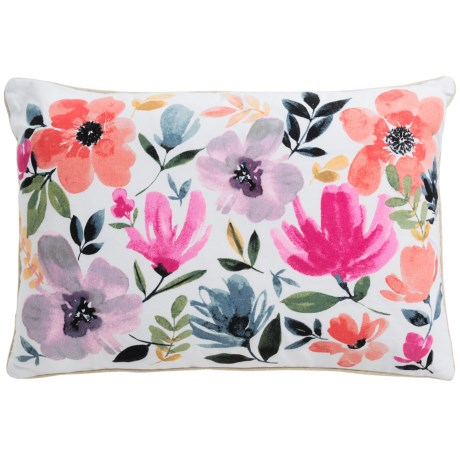 "Luxe Habitat Maggie Floral Decor Pillow - 18x27"", Feathers"