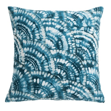 """Artisan de Luxe Ocean Fan Shibori Decor Pillow - 20x20"""", Feathers"""