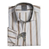 Thomas Dean Cotton Stripe Sport Shirt - Spread Collar, Long Sleeve (For Men)
