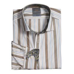 Thomas Dean Cotton Stripe Sport Shirt - Spread Collar, Long Sleeve (For Men)