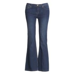 Washed Stretch Denim Jeans - 5-Pocket (For Women)