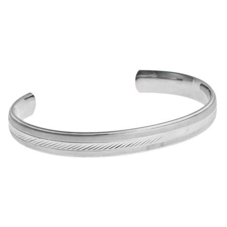 Gemstar Engraved Cuff Bracelet - Stainless Steel