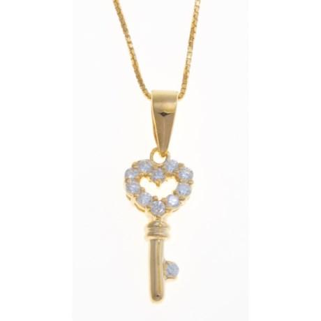 "Gemstar 18"" Heart-Key Pendant - Cubic Zirconia, 18K Gold Plated"