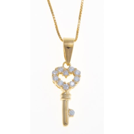 "Gemstar 18"" Heart-Key Pendant - Cubic Zirconia, 18K Gold Plated"