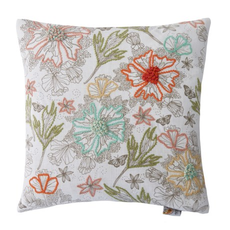 Devi Designs Wildflowers Embroidered Decor Pillow - 19x19""