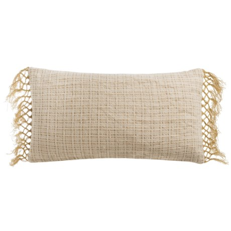 "Devi Designs Dillon Fringe Decor Pillow - 14x26"", Cotton-Jute Blend"