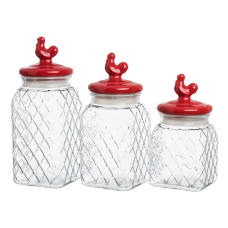 Circle Glass Red Pullet Embossed Glass Canister Set - 3-Piece