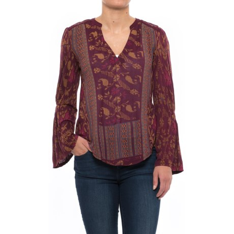 Lucky Brand Mix-Print Peasant Top - Long Sleeve (For Women)