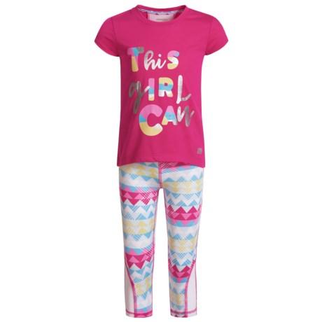 Marika High-Low T-Shirt and Printed Leggings Set - Short Sleeve (For Big Girls)