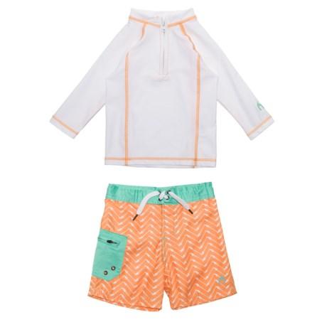 Cabana Life Rash Guard and Swim Shorts Set - UPF 50+, Long Sleeve (For Toddler Boys)