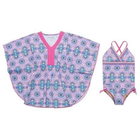 Cabana Life One-Piece Swimsuit and Cover-Up Set - UPF 50+ (For Little Girls)