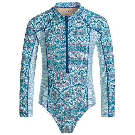 Cabana Life Bodysuit Rash Guard - UPF 50+, Long Sleeve (For Big Girls)