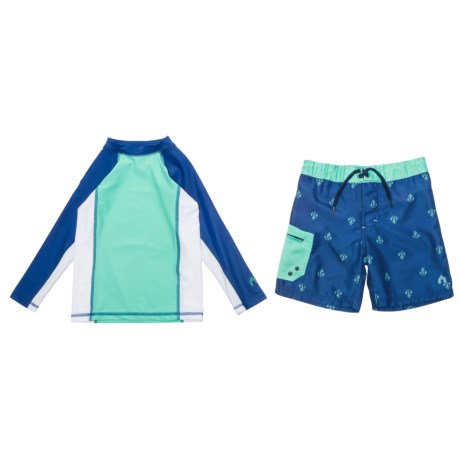 Cabana Life Rash Guard and Boardshorts Set - UPF 50+, Long Sleeve (For Little Boys)