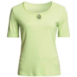 FDJ French Dressing Cotton T-Shirt - Beaded Keyhole, Short Sleeve (For Women)