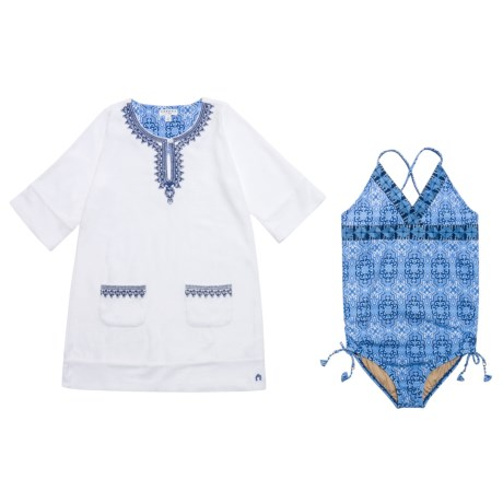 Cabana Life Swimsuit and Cover-Up Set - UPF 50+, Elbow Sleeve (For Big Girls)