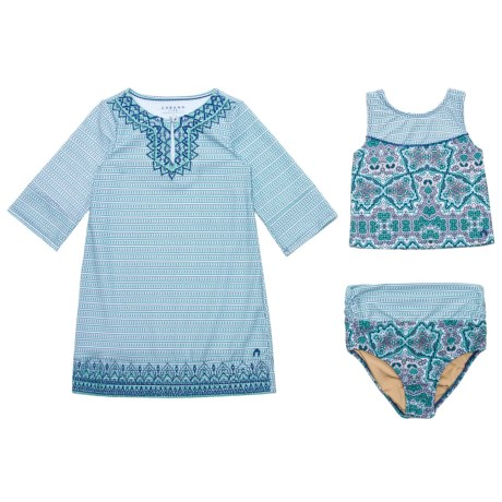 Cabana Life Embroidered Tankini and Cover-Up Set - UPF 50+, 3/4 Sleeve (For Big Girls)