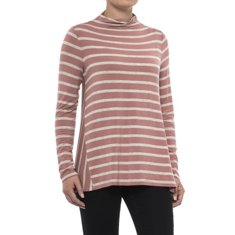 Specially made Striped Mock Neck Shirt - Long Sleeve (For Women)