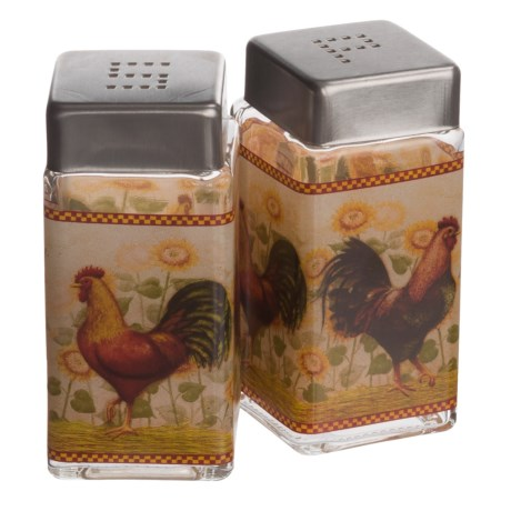 Grant Howard Rooster Glass Salt and Pepper Set