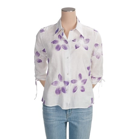Ryan Michael Floral Linen Shirt - Snap Front, 3/4 Sleeve (For Women)