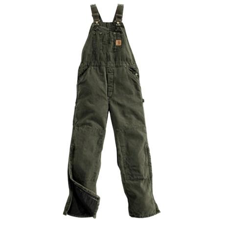 Carhartt Sandstone Bib Overalls - Long, Quilt Lined, Insulated (For Men)