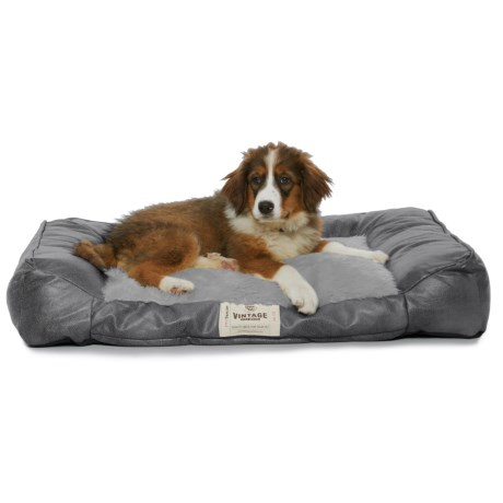 Happy Tails Faux-Leather Orthopedic Bumper Dog Bed - 38x27""