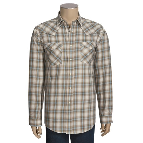 Rough Stock by Panhandle Slim Cotton Ombre Twill Plaid Shirt - Long Sleeve (For Men)