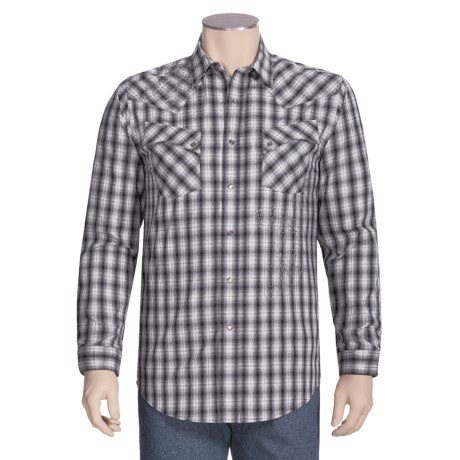 Rough Stock by Panhandle Slim Embroidered Lurex® Ombre Plaid Shirt - Long Sleeve (For Men)