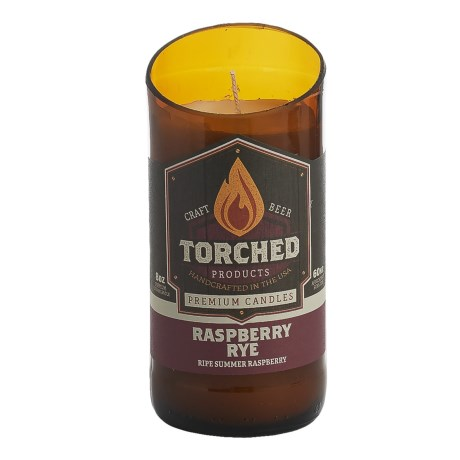 Torched Raspberry Rye Beer Bottle Soy Candle - 8 oz.