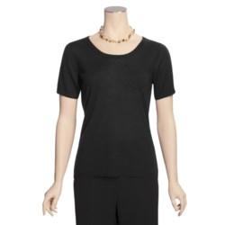 Linea Blu Merino Wool Sweater - Fully Fashioned, Short Sleeve (For Women)