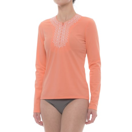 Cabana Life Embroidered Rash Guard - UPF 50+, Zip Neck, Long Sleeve (For Women)