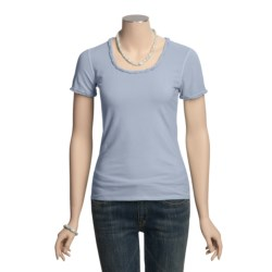 Ryan Michael Ruffled Cotton Tee Shirt - Short Sleeve (For Women)