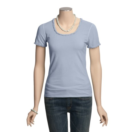 Ryan Michael Ruffled Cotton Tee Shirt - Short Sleeve (For Women)