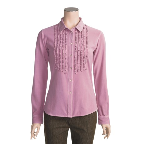 Ryan Michael Ruffled Knit Western Shirt - Long Sleeve (For Women)