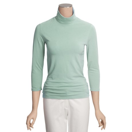Ryan Michael Cotton Turtleneck - 3/4 Sleeve (For Women)