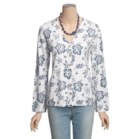 PBJ Sport Hibiscus Print Cardigan Sweater - V-Neck, Long Sleeve (For Women)