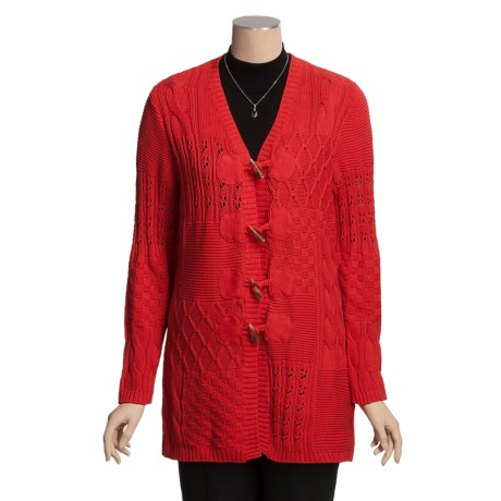 PBJ Sport Cardigan Sweater - Cable Texture Knit, V-Neck (For Women)