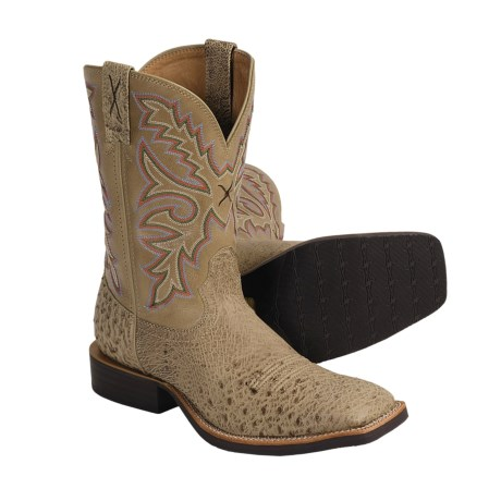 Twisted X Boots Cattleman Cowboy Boots - Ostrich Leather, Wide Square Toe (For Men)