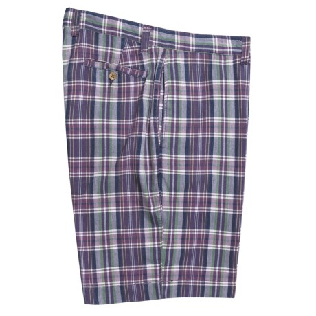 Berle Cotton Plaid Shorts - Flat Front (For Men)