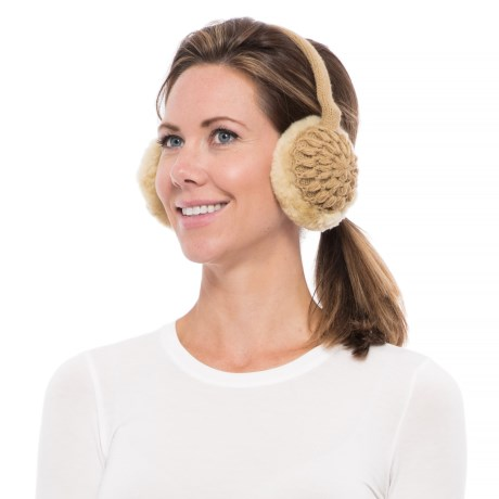 LAMO Footwear Crochet Sheepskin Earmuffs (For Women)