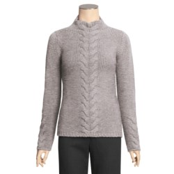 Johnstons of Elgin Cashmere Sweater - Funnel Neck, Cable Front (For Women)
