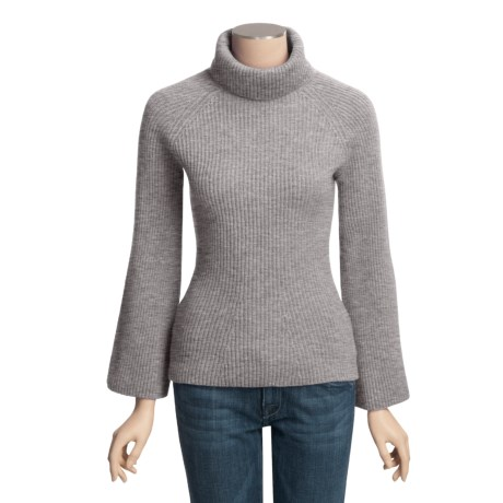 Johnstons of Elgin Cashmere Ribbed Turtleneck Sweater - Lantern Sleeve (For Women)