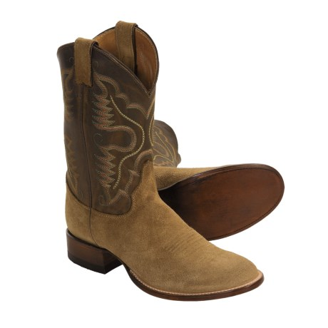 Justin Boots J96-Toe Cowboy Boots - Natural Suede Ropers (For Men)